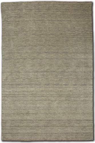 Morgenland Gabbeh Teppich Grau Beige Silber Uni Einfarbig Handgewebt Schurwolle, Größe:350 x 80 cm Läufer, Farbe:Silber -