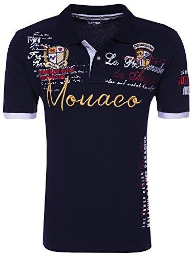 Behype Herren Poloshirt MONACO Kurzarm T-Shirt 20-304 Navy