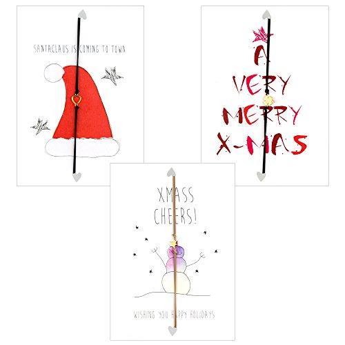 Lucie's originelle Geschenk Weihnacht Karte mit vergoldete Amulett, handgefertigt in Amsterdam, 3 Postkarten: X-Mas, Happy Holidays, Santaclaus is coming to town! Freundschaftsarmband, BFF