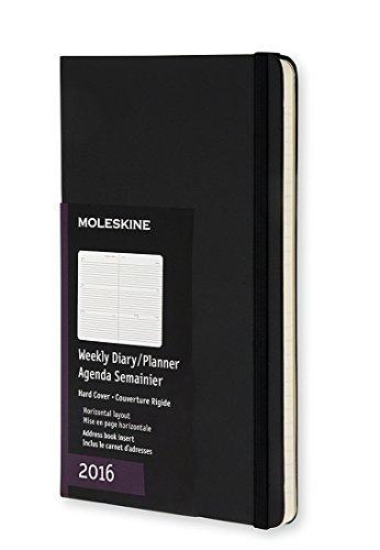 Moleskine 12 Monate Wochenkalender/Taschenkalender 2016, Horizontal, Pocket, A6, Hard Cover, schwarz -