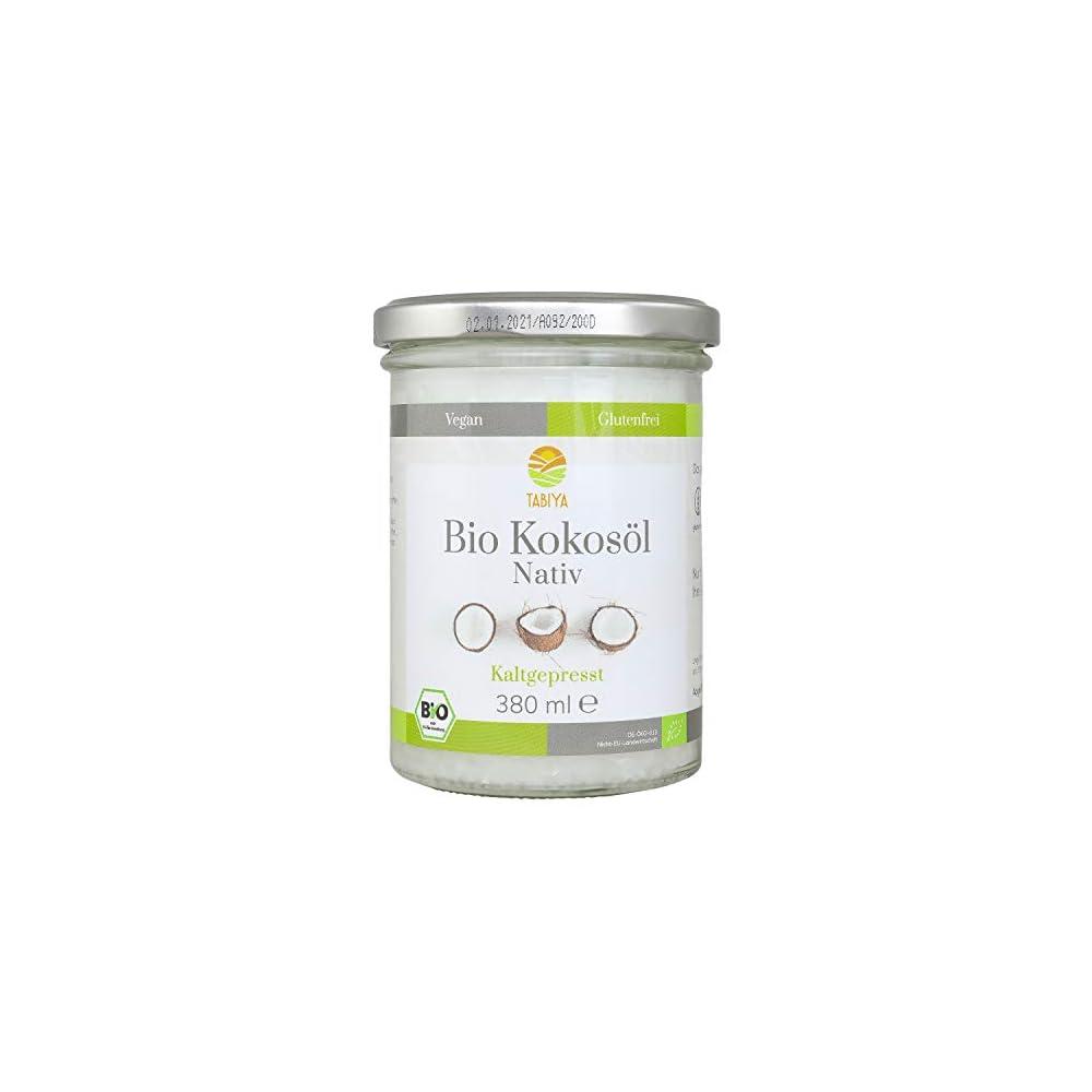 Tabiya Premium Bio Kokosl 380 Ml Natives Kokosnuss L Aus Bio Anbau Kaltgepresst Unraffiniert Kokosfett Zum Kochen Oder Fr Krperpflege Tierpflege 100 Vegan Glutenfrei Abgefllt In De