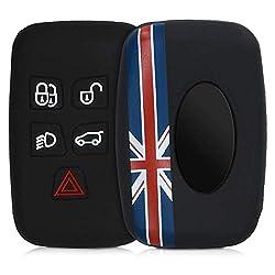 kwmobile Autoschlüssel Hülle für Land Rover Jaguar - Silikon Schutzhülle Schlüsselhülle Cover für Land Rover Jaguar 5-Tasten Funk Autoschlüssel Union Jack Streifen Design Rot Blau Schwarz