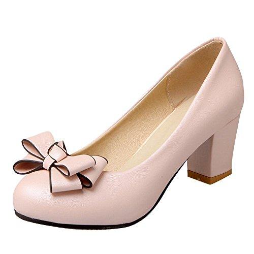 YE Damen Chunky Heels Pumps Rockabilly Geschlossene High Heels Plateau mit Schleife und 6cm Absatz Elegant Kleid Schuhe (Rosa Kleid Schuhe)