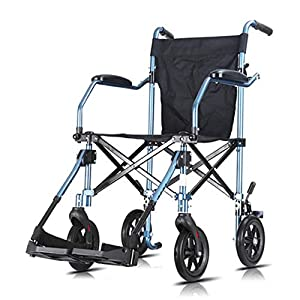 Transport Wheelchair, Wheelchair Folding Portable Trolley Cart Travel Scooter for Old People The Disabled Lightweight Folding