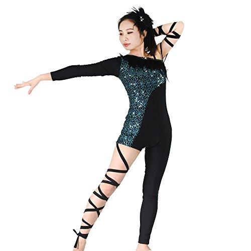 MiDee Asymmetrische Paillettenbesetzte Feather Hip Hop Tanz Kleidung Kostüm (Schwarz/Blau, (Bilder Kostüme Dance Jazz)