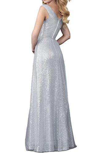 Victory Bridal 2016 Neu Modern Chiffon Pailletten Abendkleider Partykleider Promkleider V-ausschnitt Lang A-linie Rock Silber