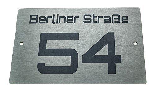 Hausnummernschild Hausnummer Edelstahl Design mit Wunschnummer & Straßenname