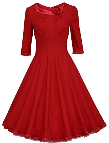 SMITHROAD Retro Flounced 3/4 Sleeve Rockabilly kleid 50er Jahre Swing Abend Cocktail Rot