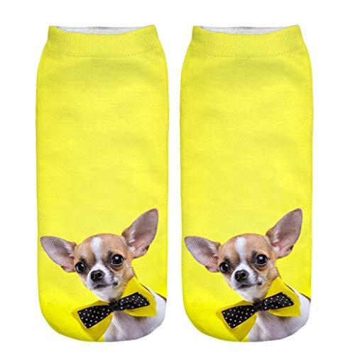 Ears Damen Socken Weihnachten Unisex Mädchen 3D Cartoon Cute Dogs Neuheit Print Söckchen Cotton Socken Baumwollsocken Kniestrümpfe Gruppe Samt Socken Stricken Plüsch Rutschfest Sportsocken