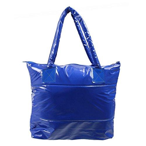 SODIAL(R) Caldo di vendita Prodotti semplice alla moda Pure spalle Colore Cotton Stripe Inverno della borsa-rosso Blu