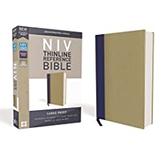 NIV, Thinline Reference Bible, Large Print, Cloth Over Board, Blue/Tan, Red Letter Edition, Comfort Print