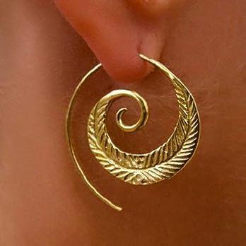 Messingohrringe – Spiralohrringe – Stammesohrringe – Zigeunerohrringe – Ethnische Ohrringe – Messingschmuck – Große…