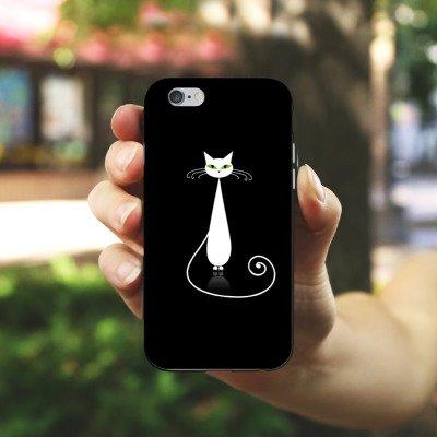Apple iPhone 4 Housse Étui Silicone Coque Protection Chat Chat Blanc Housse en silicone noir / blanc