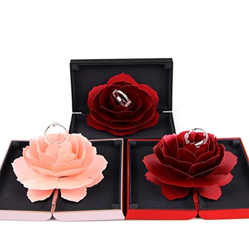 Valentinstag-Karte, Ring Box Rose Blume Verlobungsring Box Ring Bearer Box zum Valentinstag, I love you Herz, blau & rot, 3D-Pop-Up-Karte Valentinstag, Hochzeitskarte, Hochzeit, Liebe (Rot)