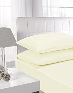 Affinity Soft Touch Pillowcase Pair Cream by Textiles Direct