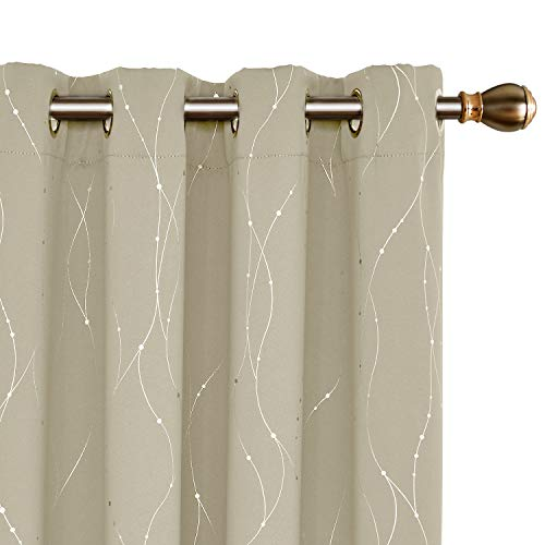 Deconovo Cortinas Opacas Diseño Líneas Plateadas para habitación con Ojales 140 x 240 cm 2 Paneles Beige Oscuro
