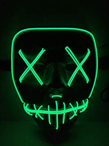 Foneso LED Maske mit 3 Blitzmodi für Halloween Fashing Karneval Party Kostüm Cosplay (Grünes Licht)