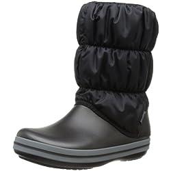 Crocs Winter Puff Boots, Botas de Nieve para Mujer, Negro (Black/Charcoal 070), 37/38 EU