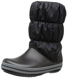 crocs Womens Winter Puff Boot Wom Snow Boot, Black/Charcoal, 10 M US
