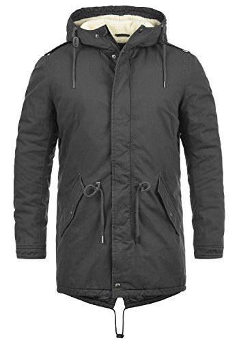 !Solid Darnell Herren Parka Lange Winterjacke Mantel Mit Kapuze Und Teddy-Futter Aus 100% Baumwolle, Größe:S, Farbe:Dark Grey (2890)