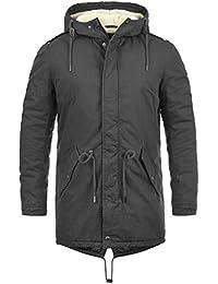 SOLID Darnell Herren Parka lange Winterjacke Mantel mit Teddy-Futter und Kapuze aus 100% Baumwolle