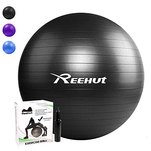 REEHUT Anti-Burst Gymnastikball + Pumpe mit Belastbarkeit bis zu 500kg Core-Training Fitness Yoga Pilates Ball - Schwarz 55CM -