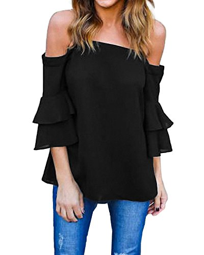 StyleDome Damen Schulterfrei Shirt Cold Shoulder Flounce Oversize Träger Top Oberteil Schwarz 50