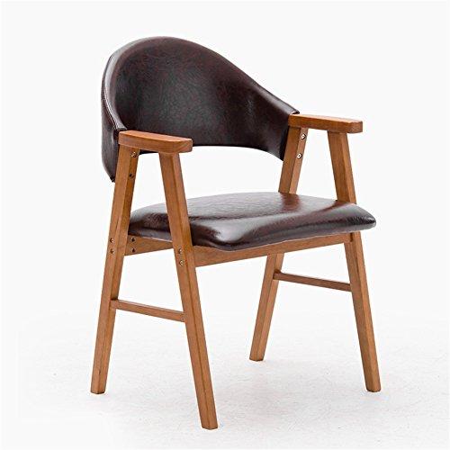 Chaise Longue En Bois Massif Avec Accoudoirs Et Dossier Brun PU 57 * 58.5 * 81.5cm (Couleur : Original wood frame)