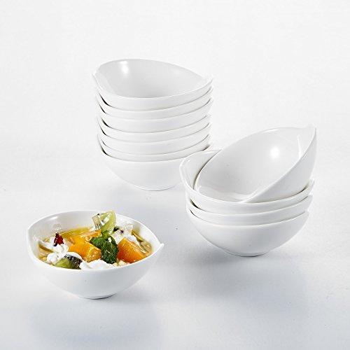 Malacasa Série Ramekin Dish, 12x Ramequin Moule à Soufflé Crème Brulée Bol Porcelaine 11*10*4cm