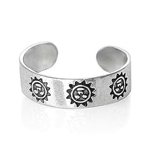 925 Sterling Silver adjustable Toe Ring Smiling Happy Sun Design