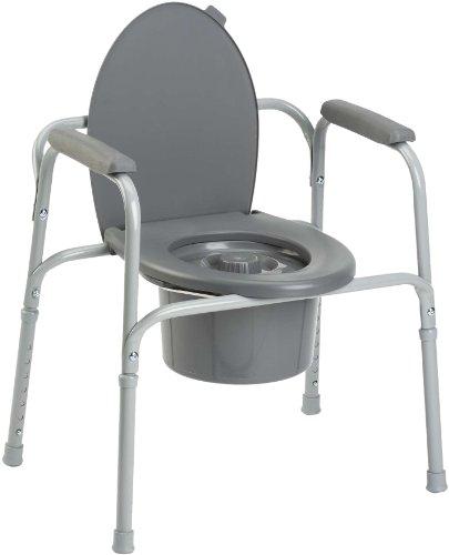 Invacare Styxo - Silla de wc 3 en 1 para personas mayores, Regulable en altura y con reposabrazos, color gris