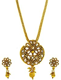 Anuradha Art Gold Tone Styled With Peach Colour Stones And Gold Beads Traditional Pendant Set For Women/Girls