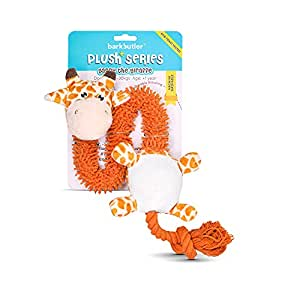 Barkbutler Garry The Giraffe Soft Squeaky Plush Dog Toy, Orange   for Small - Large Dogs (5-30kgs)   Machine Washable   Reinforced Fabric   Non - Toxic   Durable Pet Toy   Cuddle, Train, Chew, Tug