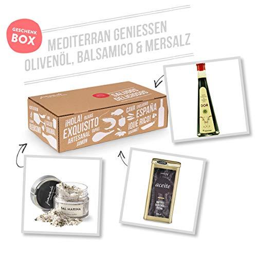 Geschenkkorb Mediterran genießen – Natives Olivenöl Extra, Balsamico-Essig und Meersalz mit mediterranen Kräutern