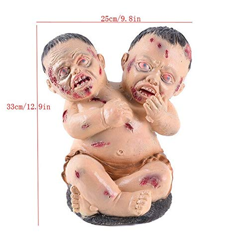 WSJDE Horror Doppelkopf Spielzeug Blutiges Baby Spielzeug Dekoration Halloween Party Ornament Böses Monster Heikles Requisit Dämon Gruselige Puppe Teuflisch (Dämon Puppe Kostüm)