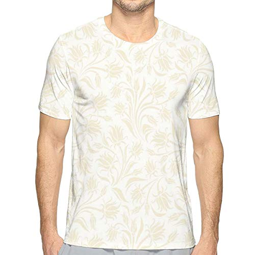 3D Printed T Shirts for Mens,Baroque Style Curved Leaves and Floral Blooms Artistic Nature Beauty Kitsch Design Motif M -