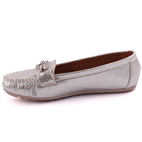 Unze Neue Damen 'Classic' Metall Detail Büro Arbeit Schule Casual Moccasin Pumps flache Schuhe UK Größe 3-8 - 1Q3688-111 Silber