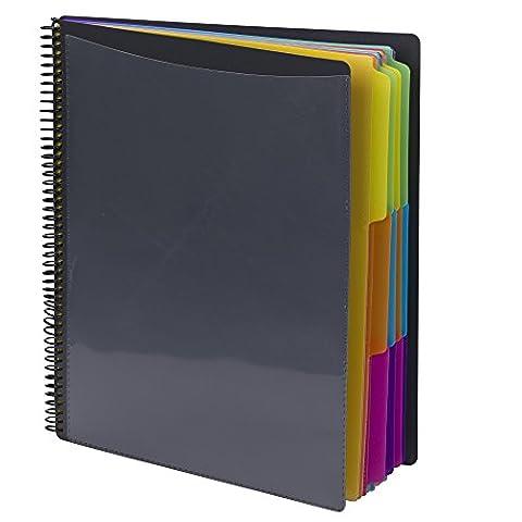 SMEAD 24Pocket Poly Project Organizer, Letter-Format, 1/3-cut Tab, grau mit hellen Farben (89206)