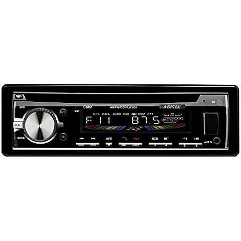 AGPTek CS02- Radio CD para coche (FM/ AM/ USB/ SD/ AUX/ Bluetooth), Negro