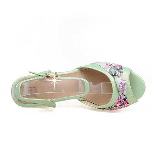 AllhqFashion Damen Schnalle Fischkopf Schuhe Hoher Absatz Pu Leder Sandalen Mit Hohem Absatz Grün