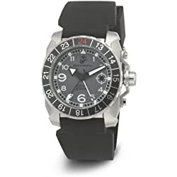 Wrist Armor Men's WA137 C3 Stainless Steel Analog Display Swiss Quartz GMT Watch with Black Silicone Strap