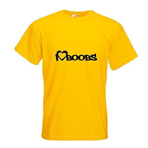 KIWISTAR - I Love Boobs T-Shirt in 15 verschiedenen Farben - Herren Funshirt bedruckt Design Sprüche Spruch Motive Oberteil Baumwolle Print Größe S M L XL XXL Gelb