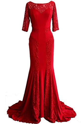 MACloth Women Mermaid Half Sleeve Lace Mother of Bride Dress Formal Evening Gown Burgundy