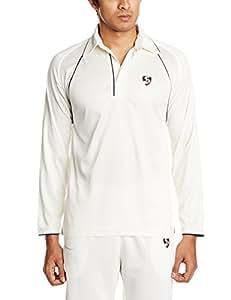 SG Premium Full Sleeves Cricket Shirt, Small (White)