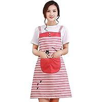 AIHOMETM Kithchen alla moda, Grembiule da cucina, motivo a strisce con tasche & gatto, per donna, a prova di unto Antifouling Rosso