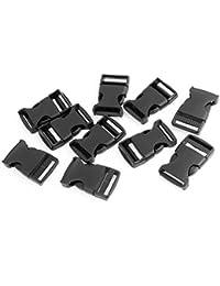 Hebilla de Liberación Lateral de Plástico Negro para Correa de Cinturón de 2.5cm de Ancho - 10 Piezas