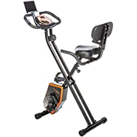 Skandika Foldaway x 1000 Exercise Bike Home Trainer with Hand Pulse Sensors, 8 Stage Vertical Magnetic Resistance LCD Display