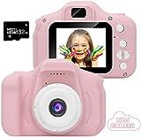 Siikii Fotocamera per Bambini, Fotocamere digitali per Bambini con Schermo da 8 MP 1080P Schermo da 3,5 Pollici Lettore di schede con Cinturino per Scheda di Memoria 32G-rosa3
