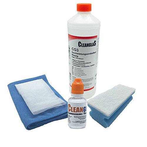 Anti Kalk Bad und Sanitär Nano Glas-versiegelung CleanglaS mit professionellem Sanitär Hochleistungsentkalker. Die Anti-Kalk Schutz Versiegelung ist ausreichend für bis zu 24m2
