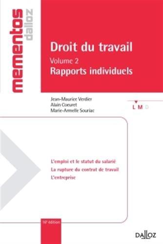 Droit du travail. Volume II Rapports individuels - 16e éd.
